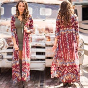 Jackets & Blazers - 💕Boho Vibes Colorful Long Duster Kimono S💕